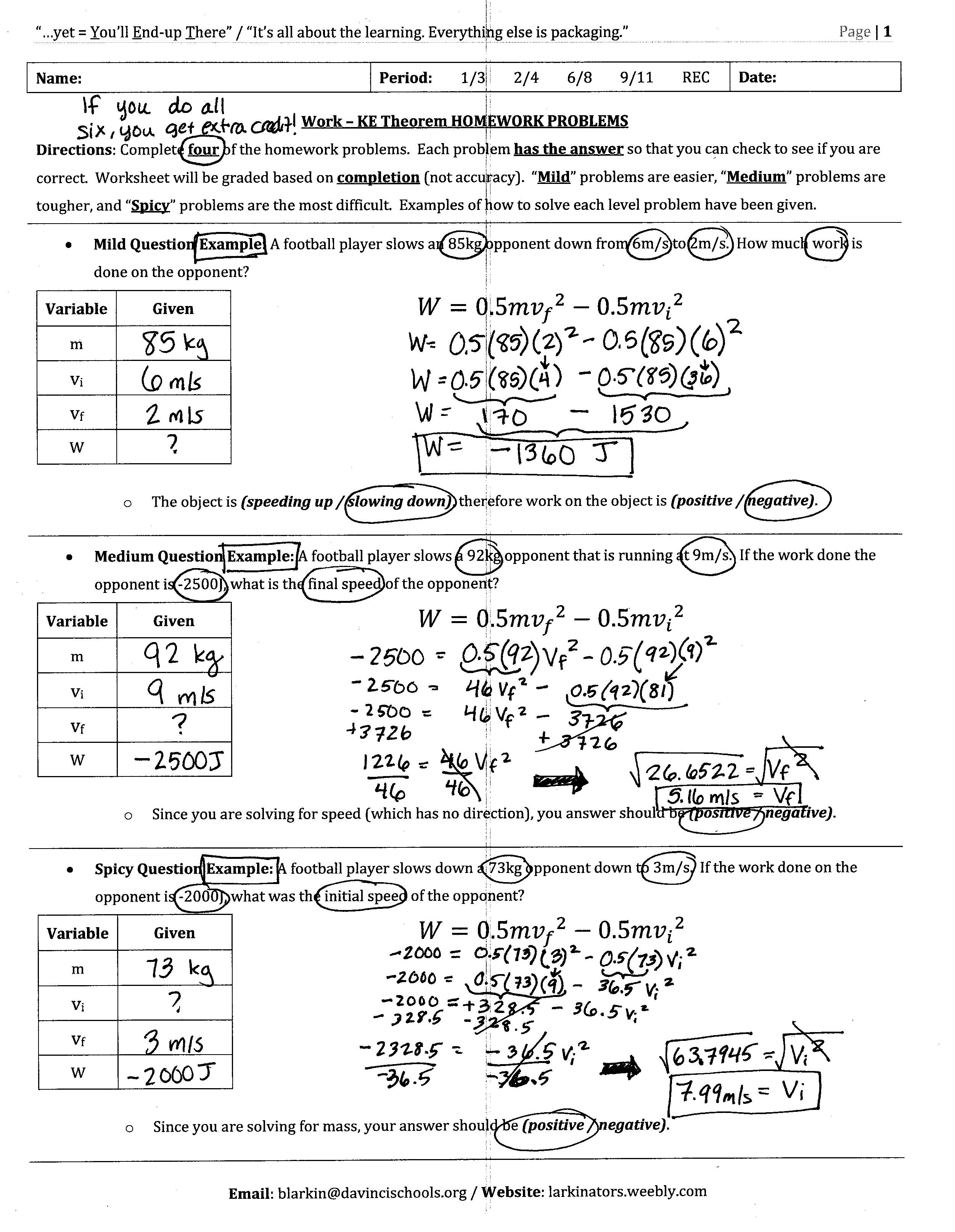 Free Worksheet Kinetic And Potential Energy Worksheet old unit 3 energy larkins school site work kinetic homework problems